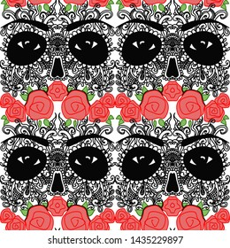 texture day of the dead skull colors seamless vector