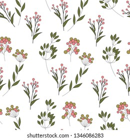 Texture with flowers and plants. Floral ornament. Original  pattern.