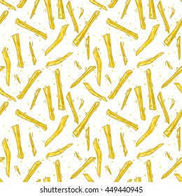 texture food. French fries seamless pattern. Decorative elements for your packing design, Menu.