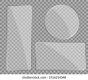 Texture of glass, plexiglass with reflection in mockup style. Realistic glare on glass. Digital screen window frame with zoom and glossy effect. Phone plastic screen, mirror glass. vector eps10