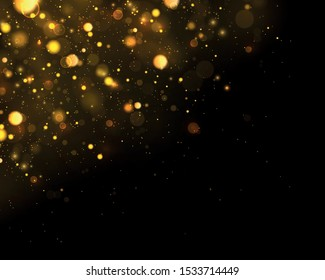 Texture glitter and elegant for Christmas. Sparkling magical gold yellow dust particles. Magic concept. Abstract black background with bokeh effect. Vector