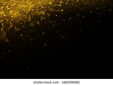 Texture glitter and elegant for Christmas. Sparkling magical gold yellow dust particles. Magic golden concept. Abstract black background with bokeh effect. Vector