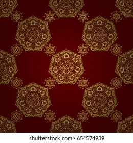 The texture of golden elements on red background. Vector golden seamless pattern.