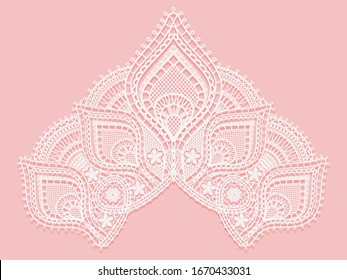 Texture lace fabric in shape of a triangle. White lace on pink background. Crocheted thin fabric made of yarn or thread. Ivory-colored lacy cloth. Vector illustration