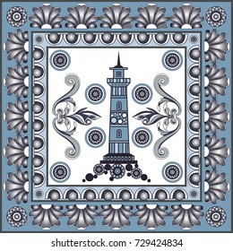 Texture with lighthouse (beacon, pharos). Sailor background. Ceramic tile with Spanish, Portuguese (Azulejo) or Russian (Gzhel) pattern. Vector illustration.