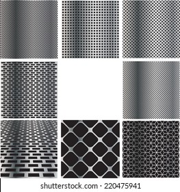 Texture of Metal Grid Collection . Steel Plate Pattern with Holes . Industrial Background Illustration .