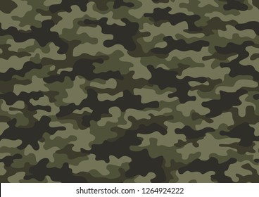 Texture military camouflage seamless pattern. Abstract army and hunting masking camo endless ornament background. Vector illustration.