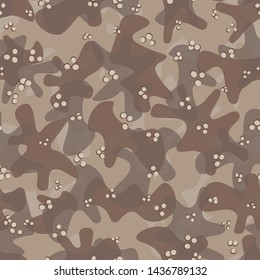 Texture military desert sand camouflage seamless pattern. Abstract army and hunting masking ornament background. Vector illustration.