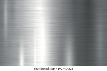 Texture panorama of silver metal with reflection - background
