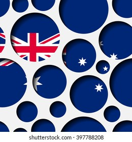 Texture - paper cut circles. Australian flag. Background for web, banner, cards, e-mail etc.