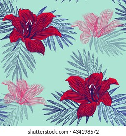 texture of paradise , exotic flowers . bright juicy pattern . vector