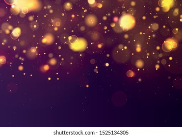 Texture purple background. Glitter and elegant for Christmas.Sparkling magical gold yellow dust particles. Magic concept. Abstract background with bokeh effect. Vector