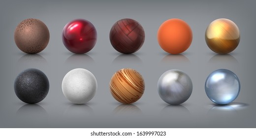 Texture spheres. 3D realistic balls of glass metal plastic rubber materials, decoration elements and templates for modeling. Vector illustration abstract designs ball shapes