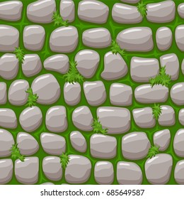 Texture Stone on grass, vector cartoon seamless background