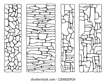 Texture of stones. wall from bricks set vector. paved flat stone surfaces. hand drawing insulated set.