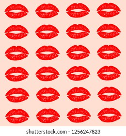 Texture. Valentine's Day. On a pink background prints of red lipstick. The shape of the lips is made in a flat style. Vector image.