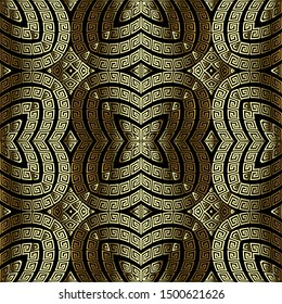 Textured 3d greek seamless pattern. Vector surface gold background. Ornate repeat backdrop. Abstract decorative modern design. Greek key meanders intricate ornament. Endless golden 3d texture.