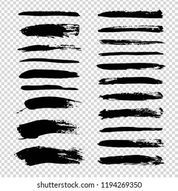Textured abstract black smears set isolated on imitation transparent background