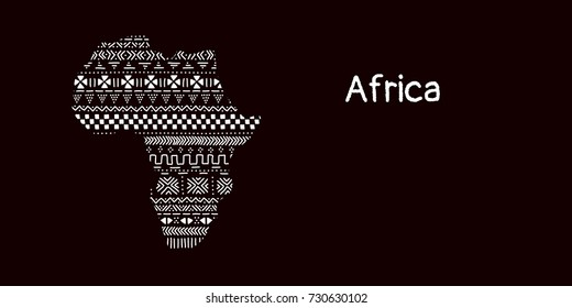 Textured Africa continent in black and white mudcloth ornament, vector