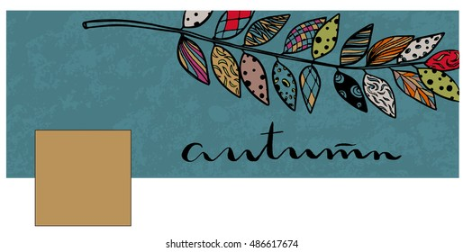 textured background with hand lettering and bright autumn leaf Doodle