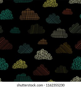 Textured clouds in the sky seamless vector pattern background. Teal, green, orange, and yellow silhouettes of clouds on a black background. Great for kids, fabric, paper, web banners, wallpaper, cards