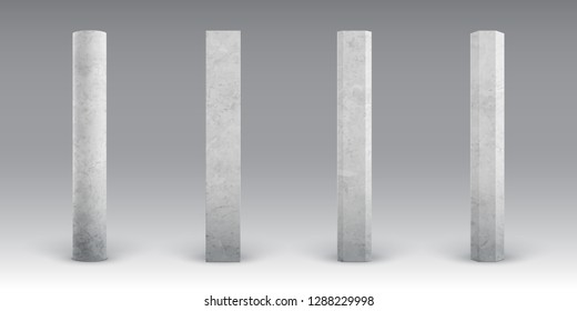Textured concrete columns. Realistic cement footings. Reinforced concrete pillars. Bridges, roads or buildings construct elements. Concrete pole for banners and billboards.