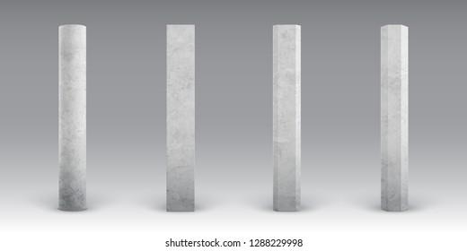 Textured concrete columns. Realistic cement footings. Reinforced concrete pillars. Bridges, roads or buildings construct elements. Concrete pole for banners and billboards.