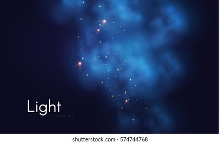 Textured Dark Background. Magic Fog and Fkashes. Shining Stars and Clouds. Night Club Space. Vector illustration