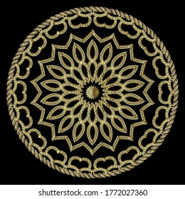 Textured gold 3d ropes mandala pattern. Tapestry floral vector background. Embroidery vintage flowers, lines, swirls, frame. Grunge texture. Embroidered round ornament. Modern beautiful ornate design.