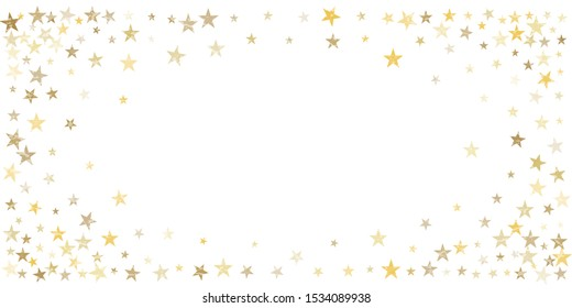 textured gold stars background, golden sparkles confetti falling. christmas lights shining stars glitter backdrop, vector border. tinsel elements celebration graphic design.