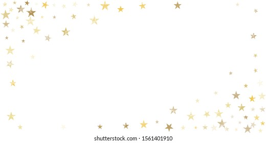 textured gold stars corner background, golden sparkles confetti falling. christmas lights shining stars glitter backdrop, vector border. tinsel elements celebration graphic design.
