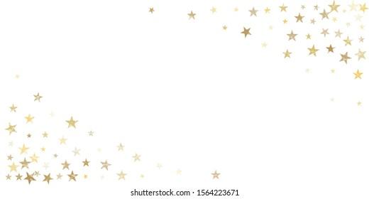 textured gold stars corner background, golden sparkles confetti falling. christmas lights shining stars glitter backdrop, vector border. tinsel elements celebration graphic design.