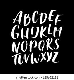 Textured hand drawn ABC. Brush Latin / English alphabet. Handwritten lettering uppercase font, script, typeface, typeset. Perfect for custom card / banner design. Brushed font vector illustration.