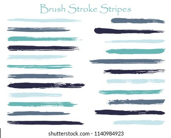 Textured ink brush stroke stripes vector set, blue horizontal marker or paintbrush lines patch. Hand drawn watercolor paint brushes, smudge strokes collection. Interior paint color palette elements.