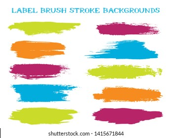 Textured label brush stroke backgrounds, paint or ink smudges vector for tags and stamps design. Painted label backgrounds patch. Interior paint color palette samples. Ink dabs, green splashes.