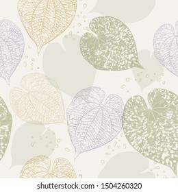 Textured leaf shapes seamless pattern in muted tonal colors. Sophisticated style with natural greenery heart shaped leaves. Lovely for textiles and paper; pretty background for wedding invitations