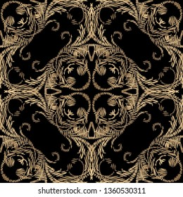 Textured luxury Baroque embroidery seamless pattern. Vector tapestry floral background. Grunge vintage gold Damask ornament. Embroidered flowers, leaves, scrolls, lines. Ornate endless grungy texture