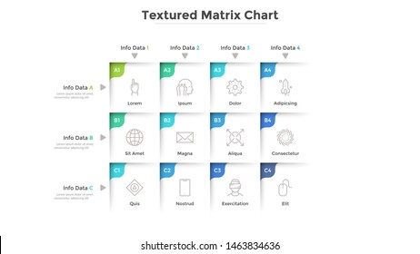 Textured matrix chart with 12 square cells with coordinates arranged in rows and columns. Table with nine options to choose. Modern infographic design template. Vector illustration for presentation.