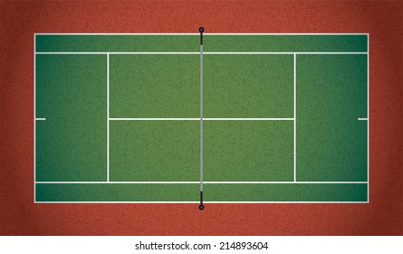 A textured realistic tennis court illustration. Vector EPS 10. EPS contains transparencies.