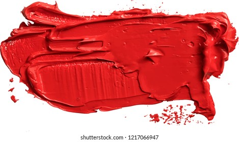 Textured red oil paint brush stroke, or lipstic, convex with shadows, eps 10 vector illustration isolated on transparent background