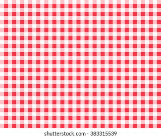 Textured red and white plaid vector background. The pattern for textiles. Background for food.  chequered