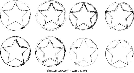 Textured Star used for stamps, banners. Icon.