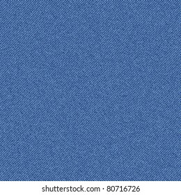 Textured striped blue jeans denim linen fabric background. Seamless pattern. Vector.