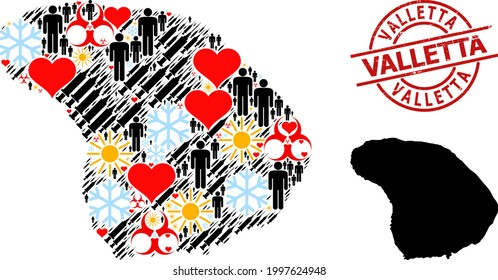 Textured Valletta stamp, and frost humans Covid-2019 treatment mosaic map of Lanai Island. Red round stamp seal includes Valletta tag inside circle. Map of Lanai Island mosaic is composed of winter,