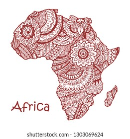 Textured vector map of Africa. Hand drawn ethno pattern, tribal background. Vector illustration.