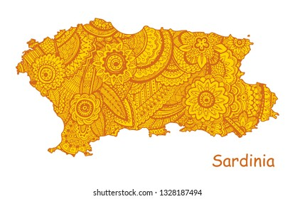 Textured vector map of Sardinia. Hand drawn ethno pattern, tribal background. Vector illustration.