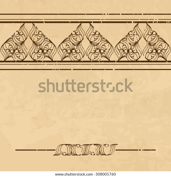 Textured vintage background with ornamental borders. There is a seamless border in the brush palette