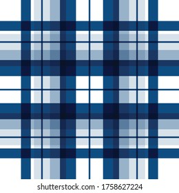 Textured white and darkblue plaid vector background. The pattern for textiles. Background for food. Chequered.