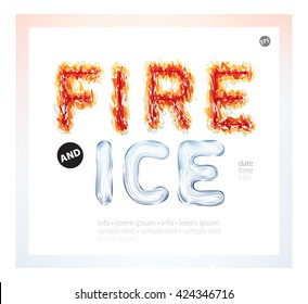 Textured words on a white background. Bright fiery and frozen font. Can be used as banner, poster, advertisement, invitation, or brochure, announcement date, time, info. Vector illustration concept
