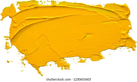 Textured yellow oil paint brush stroke. EPS 10 vector illustration.